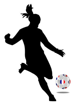 Women's Soccer, female soccer player with a soccer ball with an flag of France - illustration