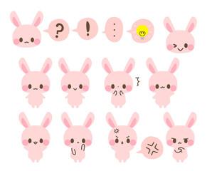 ピンクのうさぎアイコン・ひらめき・驚く・?・!・怒る・悩む・考える・バイバイ・おすまし・イラスト