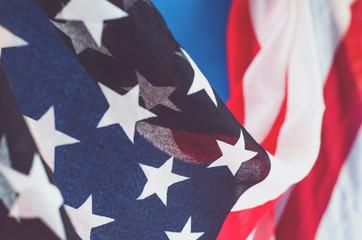 Abstract horizontal photo of an American flag.