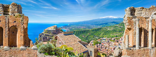 Panoramic collage with ancient Greek theatre and Church of Madonna della Rocca in Taormina, Sicily, Italy Fototapete