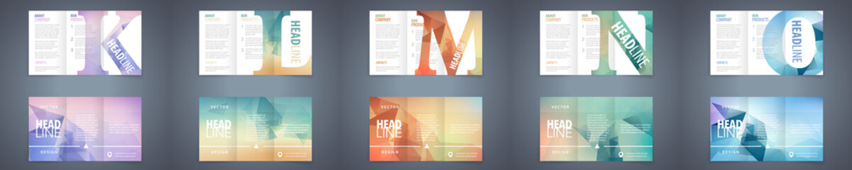 Vector modern tri-fold brochure design template set with colorful polygonal background and letter design element. Best corporate style layout