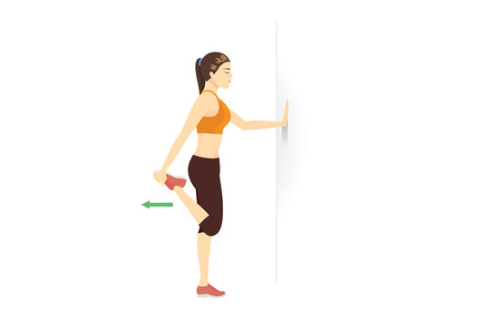Exercise diagram about Quadriceps Stretch while standing with sport woman.