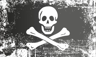 Pirate black flag with a human skull and bones, Jolly Roger. Wrinkled dirty spots. Can be used for design, stickers, souvenirs