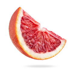 Wall Mural - blood orange slice isolated on white background