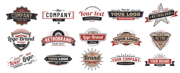 Old badges. Vintage sign, retro premium badge and logo emblem frame vector set Fototapete