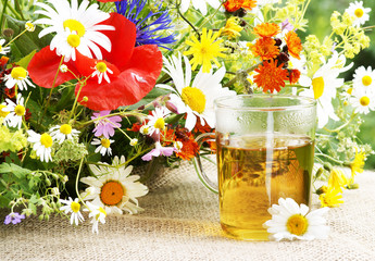 Herbal tea with wild herbs and flowers