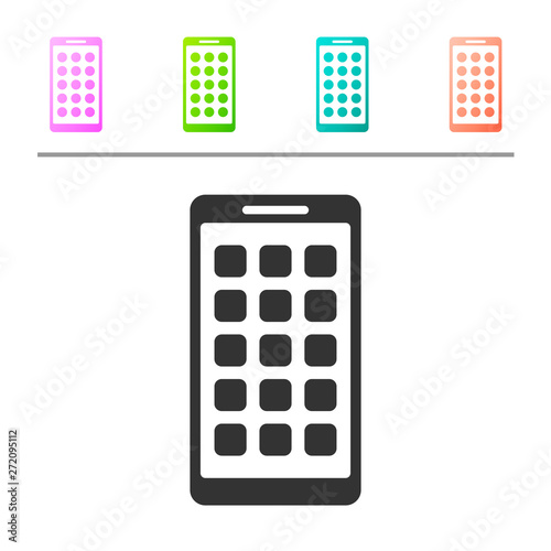 Grey Mobile Apps icon isolated on white background