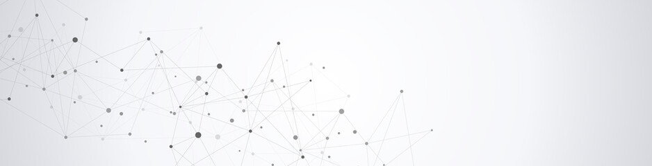 Global network connection. Abstract geometric background with connecting dots and lines. Digital technology and communication concept. Wall mural