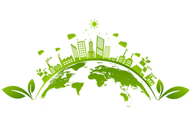 Ecology concept and Environmental ,Banner design elements for sustainable energy development, Vector illustration Wall mural