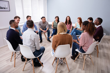 Multi-ethnic People Sitting In Circle Counseling Wall mural