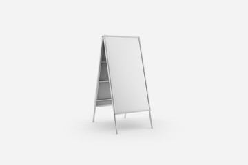 Blank white Wooden Outdoor Advertising Stand Mock-up isolated on soft gray background.Street signage board mock up. 3D rendering