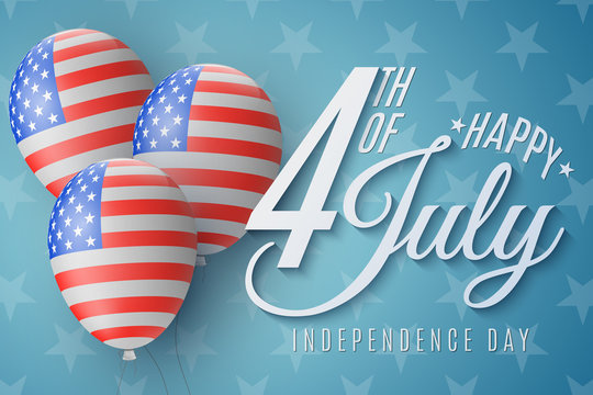 Happy Independence Day brochure. 4th of July. United States of America flag pattern. Realistic flying balloons with beautiful lettering. Vector illustration