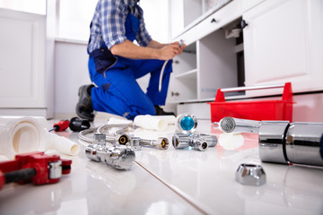 Plumber Tools And Equipment In Kitchen