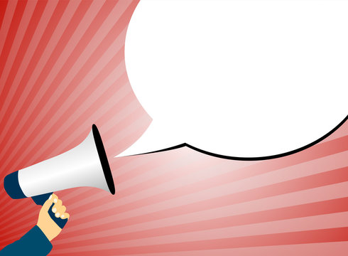 hand holding megaphone or bullhorn against red background with rays of light and speech bubble vector illustration