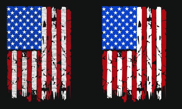 Vintage Distressed Retro American Flag Patriotic Veteran Vector