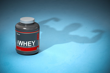 Whey protein with a shadow of bodibuilder. Sports  nutrition supplements for bodibuilding.