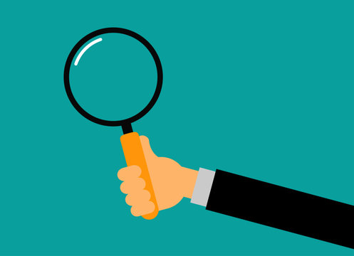 businessman hand holding a magnifying glass. search for employees and job concept. Isolated on blue background. Vector Illustration.