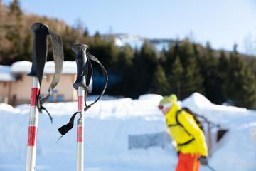 Close-up of ski poles