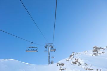 Ski lift going up the mountain