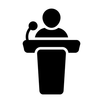 Podium icon vector male person on podium symbol for public speech on business conference with microphone in glyph pictogram illustration