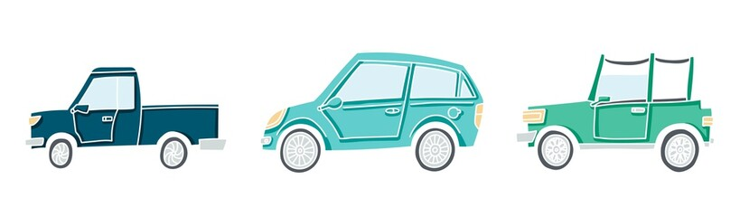 Cute illustration of a doodle car set. Pastel colored vector autos with white outline.