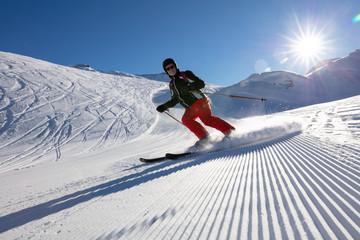 Senior man skiing in winter landscape
