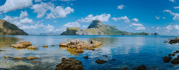 Amazing panorama view of El Nido bay and Cadlao island at low tide, wonderful unique nature of Palawan, Philippines