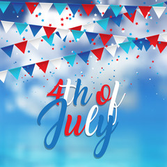 4th july design with confetti and pennants on blue sky background