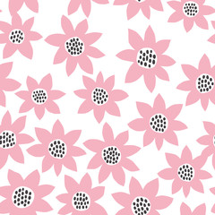 Big abstract flowers seamless pattern