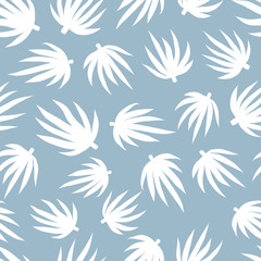 Single color playful leaves seamless pattern