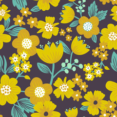 Allover floral seamless surface pattern