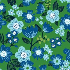 Allover floral seamless surface pattern Green blue