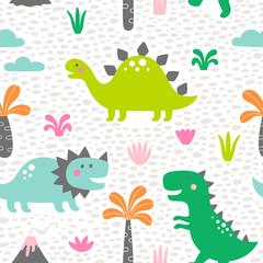 Cute dinosaur seamless surface pattern