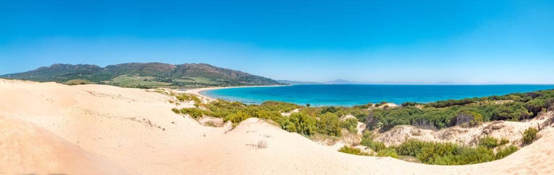 Panorama of the big dune of Valdevaqueros in Tarifa and Punta Paloma and Valdevaqueros beaches. Impressive nature landscape of the coast of Cadiz in Andalusia, Spain
