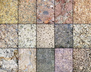 close up background image of beautiful various granite tile patterns in a row
