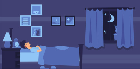 Man sleeping in bedroom at night flat cartoon style