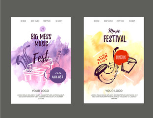 Vector print music poster set with watercolor stain and doodle icons. Abstract jazz background