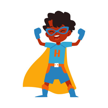 African kid little boy superhero costume standing raised arms cartoon style