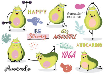Collection of green avocado card set with leaf,avocado exercise. Let's avocuddle