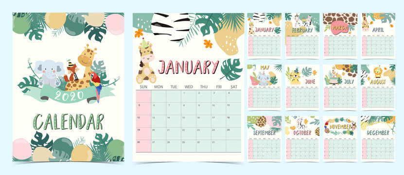 Doodle pastel calendar set 2020 with elephant,giraffe,tiger,fox,parrot for children.Can be used for printable graphic