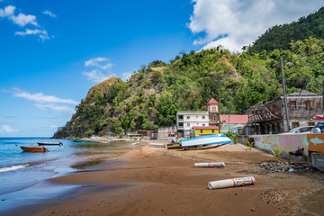 Bibble Beach, Soufriere,  Views around the caribbean island of Dominica West indies.