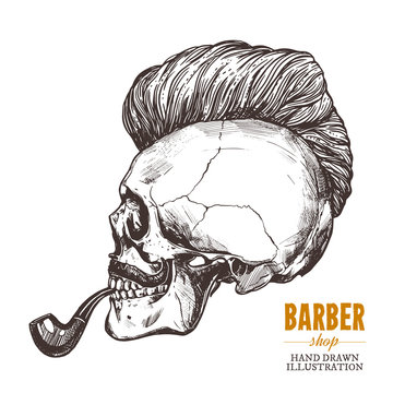 Hand drawn human skull with trendy haircut, mustache and vintage smoking pipe in the profile. Vector sketch engraving barbershop illustration