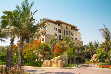 Dubai, UAE, United Arab Emirates. Residential building of the Sofitel on the Palm Jumeirah hotel