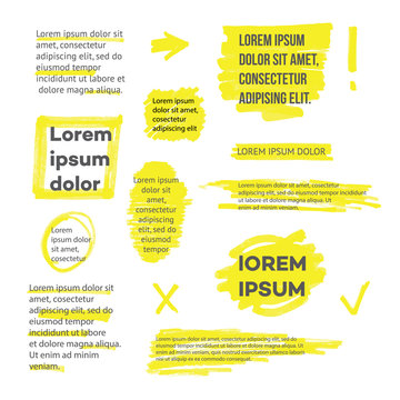 A set of lines or strokes and shapes, marks and spots, underlines and frames from the yellow marker or highlighter.