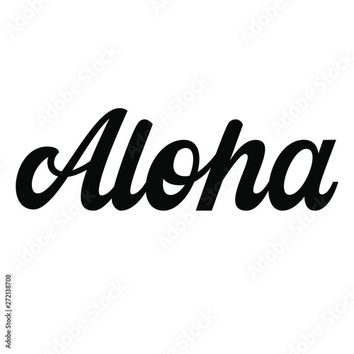 Aloha hand lettering, retro letters isolated on white