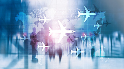 World map with flight routes airplanes. Global Aviation Business Tourism. Double exposure background.