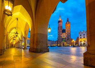 Poster Krakow Krakow. Market square in the night lights at sunrise.