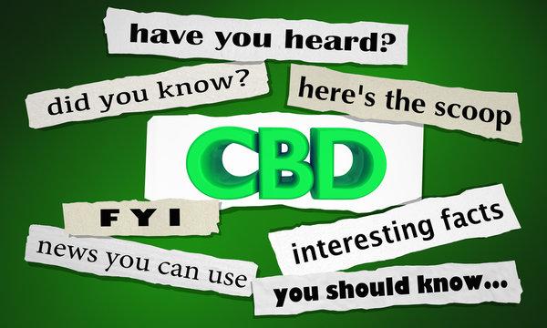 CBD Cannabidiol Marijuana Cannabis Newspaper Headlines Facts 3d Illustration