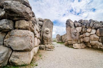 Bogazkale, Turkey - May 4, 2017. Ruins and art in Hattusa empire, Asia