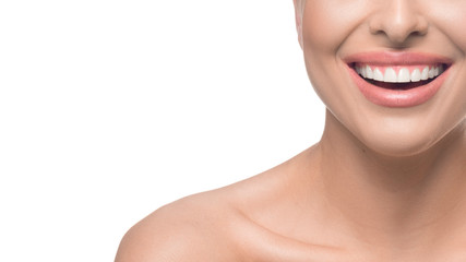 Happy smiling woman over white background. Natural beauty, teeth and skin care concept